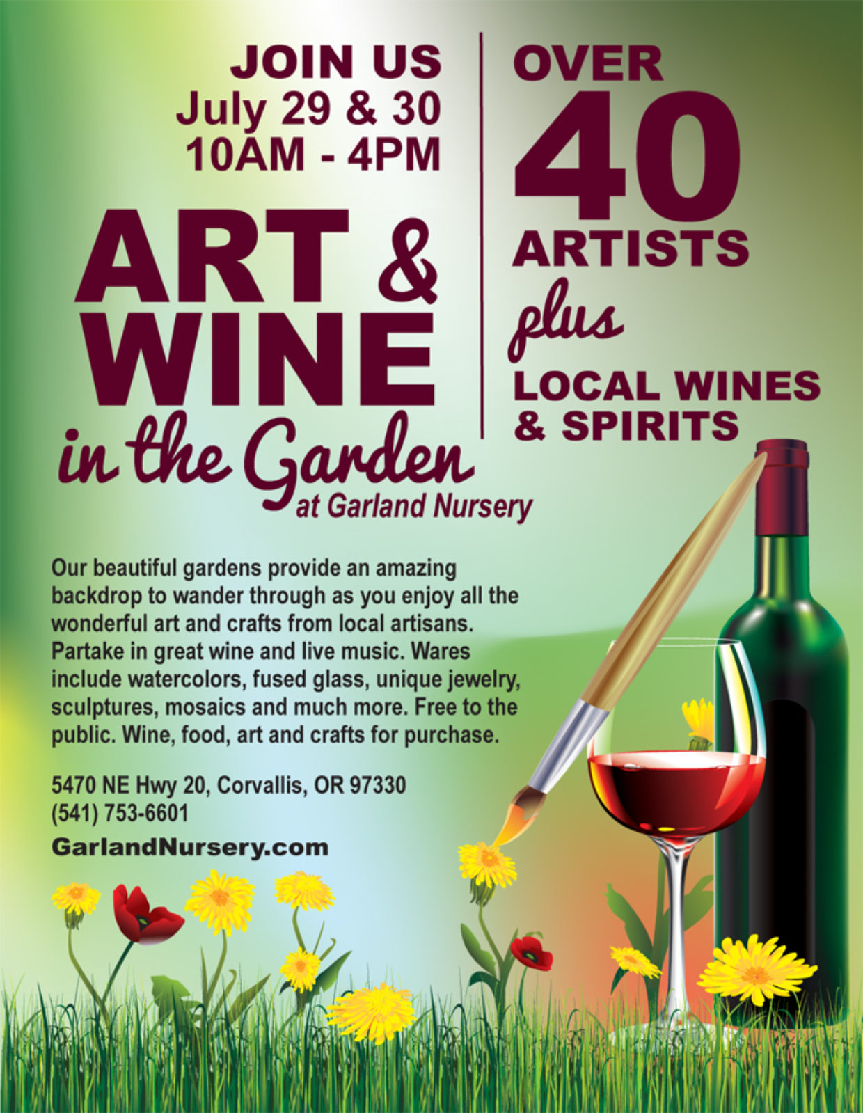 Art & Wine in the Garden at Garland Nursery
